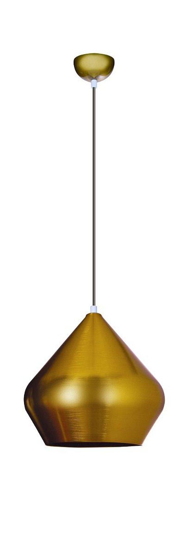Pendente Vertical Dourado Redondo Alumínio Tom Dixon 28x28 InPallocino Luciin E-27 Zg236/13 Entradas e Quartos