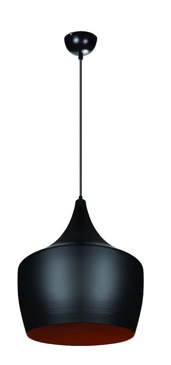 Pendente Vertical Redondo Alumínio Preto Decorativo Tom Dixon 45x45 InPallocino Luciin E-27 Zg238/2 Cozinhas e Salas