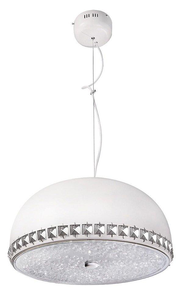 Pendente Cúpula 1/2 Esfera Branco Inox Cristal Decorativo 25x40 InCadorna Luciin Led Zg240/3 Salas e Hall