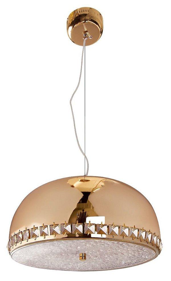 Pendente Cúpula 1/2 Esfera Inox Dourado Cristal Decorativo 25x40 InCadorna Luciin Led Zg240/13 Salas e Hall