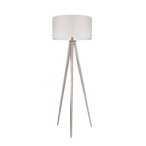 Luminária Indritto Abajur Coluna Tripé Branco Tecido Sala Piso Decorativo Sofisticado Cf129/3 Luciin