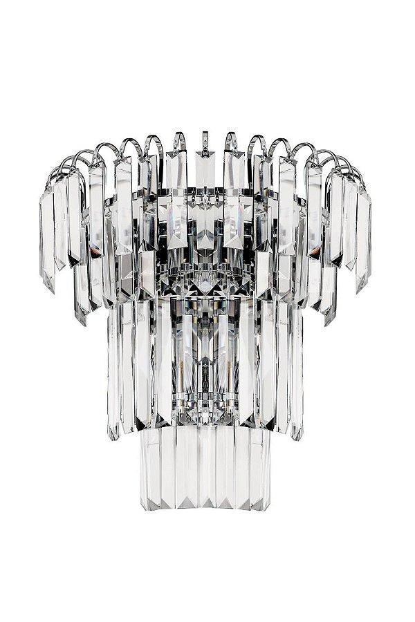 Arandela Interna Redonda Cristal Lapidado Transparente Placa 35x20 Più InRaggio Luciin G9 Lx073 Quartos e Salas
