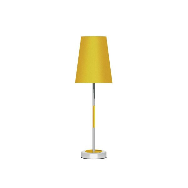 Abajur Alumínio Colorido Amarelo Cúpula Cônica Tecido Bivolt 53cm de Altura Injazz Luciin E-27 Cf132/10 Quartos e Salas