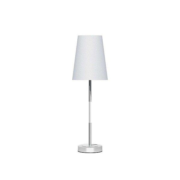 Abajur Alumínio Colorido Branco Cúpula Cônica Tecido Bivolt 53cm de Altura Injazz Luciin E-27 Cf132/3 Quartos e Salas