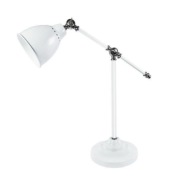 Abajur Luminária de Mesa Branco Articulado Bivolt Decorativo 52cm de Altura Incharm Luciin E-27 Hn003/3 Cabeceiras e Mesas