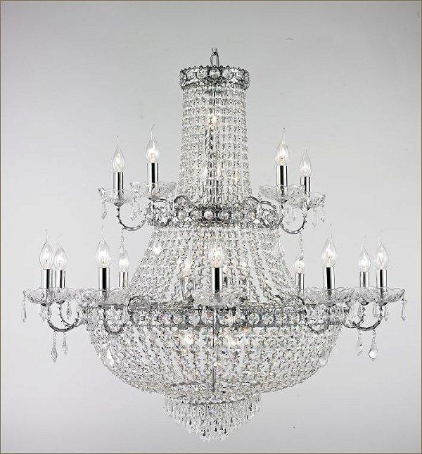 Lustre imperial Vintage Metal Cromado Cristal Translúcido 15 Lâmpadas 95x1m Tupiara E-14 4515-CRCT Salas e Hall