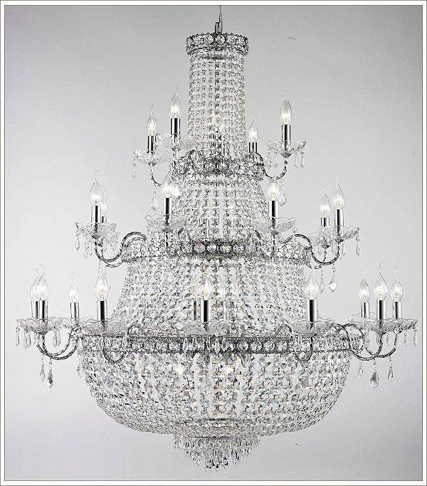 Lustre Imperial Vintage Metal Cromado Cristal Transparente 24 Lâmpadas 1,20x1,15m Tupiara E-14 4524-CR Entradas e Salas
