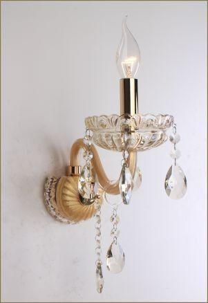 Arandela Clássica 1 Braço Vela Ouro Cristal Champagne Ø13 Saint Marie Tupiara E14 7601-OVCH Hall e Salas