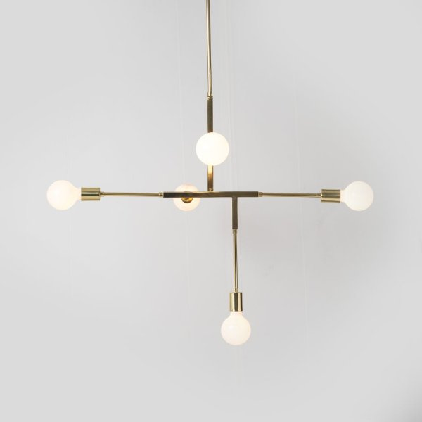 Lustre Design Moderno Metal Dourado 5 Lâmpadas 83x56 Five Golden Art E-27 T1550 Quartos e Salas