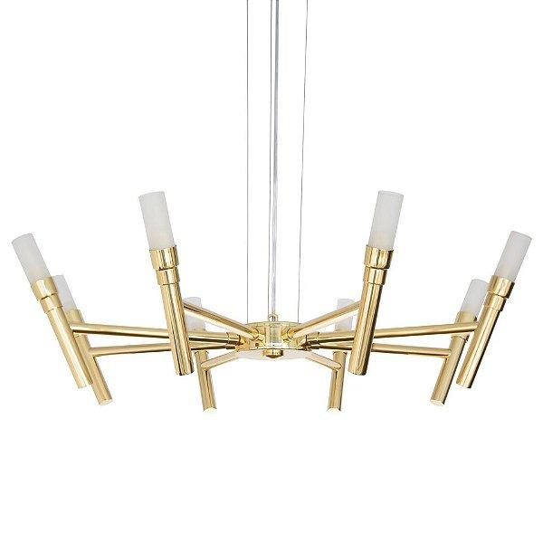 Lustre Design Moderno Metal Dourado Cúpula Vidro 8 Lâmpadas Ø60 x 1m Montana Golden Art G9 T1072-8 Salas e Hall