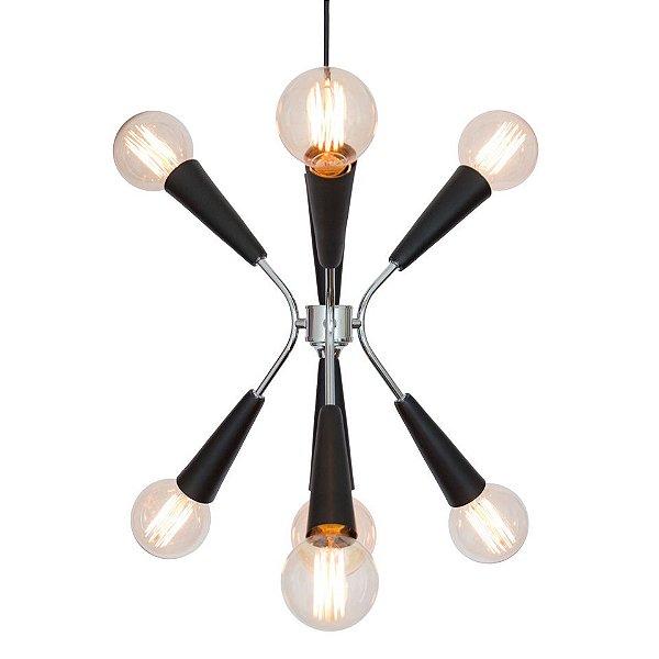 Lustre Design Moderno Preto Fosco 7 Lâmpadas Cabo Regulável 36x40 Nasa Golden Art E-27 T1070 Quartos e Salas