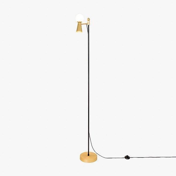 Coluna Golden Art Pivô - Luminária de Chão 2 focos de luz e regulagem de altura.