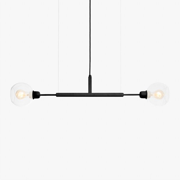 Lustre Golden Art Due P Black Horizontal com Cúpula de Vidro