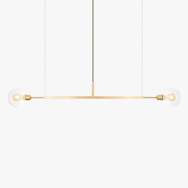 Lustre Golden Art Due G Horizontal Dourado 1,3mt com Cúpula de Vidro