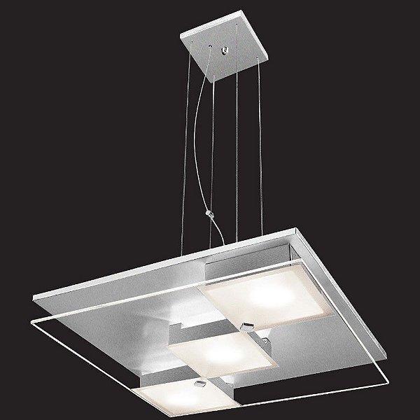 Pendente Quadrado Alumínio Lixado Difusor de Vidro Temperado Ø40cm Reflexos G9 Munclair 4360 Cozinhas e Salas