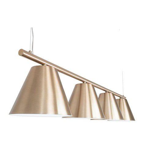 Pendente Mix Metal Trilho Cúpulas Cônicas Champagne Polido Bivolt Ø28cm E-27 Eletrônica Munclair 4488-4 Entradas e Salas
