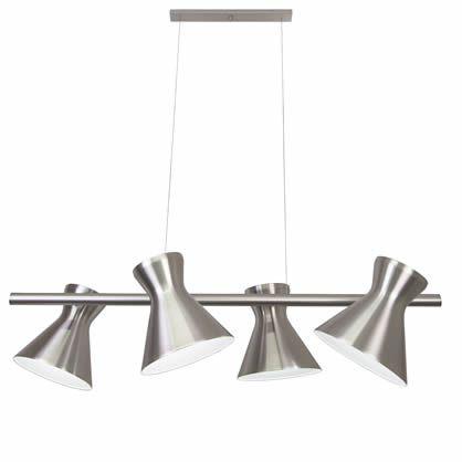 Pendente Trilho Mega Luz Articulado Alumínio Polido Bivolt 1,0m E-27 Eletrônica Munclair 4555-4 Cozinhas e Salas