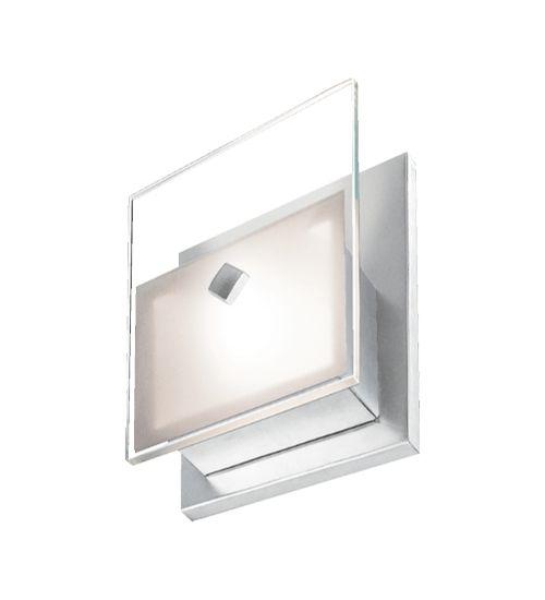 Arandela Reflexos Retangular Alumínio Lixado Vidro Plano Jateado Bivolt 13x15cm G9 Halopin Munclair 2247 Corredores e Salas
