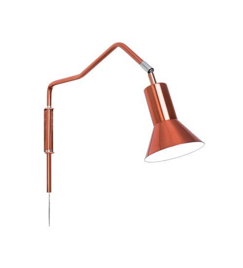 Arandela Haste Lanterna Cúpula Cônica Cobre Rosê Gold Bivolt Ø12cm E-27 Eletrônica Munclair 2341 Quartos e Salas