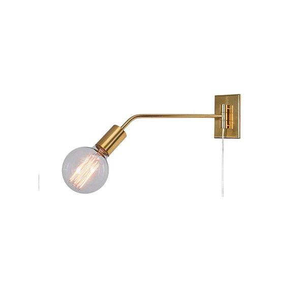 Arandela Agni Haste Reta Pequena Alumínio Dourado Fosco Bivolt 40x15 E-27 Eletrônica Munclair 2344 Corredores e Entradas
