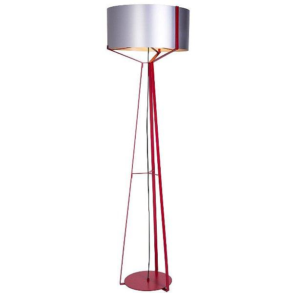 Abajur Coluna Cinta Industrial Decorativo Redondo Vermelho Bivolt 1,60m E-27 Eletrônica Munclair 9578 Quartos e Salas