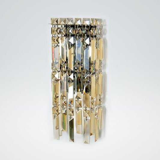 Arandela Retangular Cristal Lapidado Champagne Bivolt 15x38cm G9 Halopin Stella SD2920 Hall e Salas