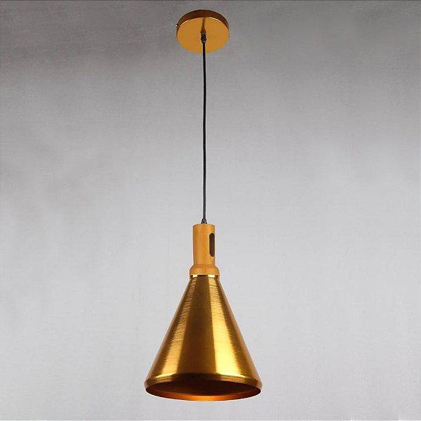 Pendente Dakini Decorativo Cônico Dourado Alumínio Bivolt Ø26cm Bulbo Stella SD8534 Balcões e Cozinhas