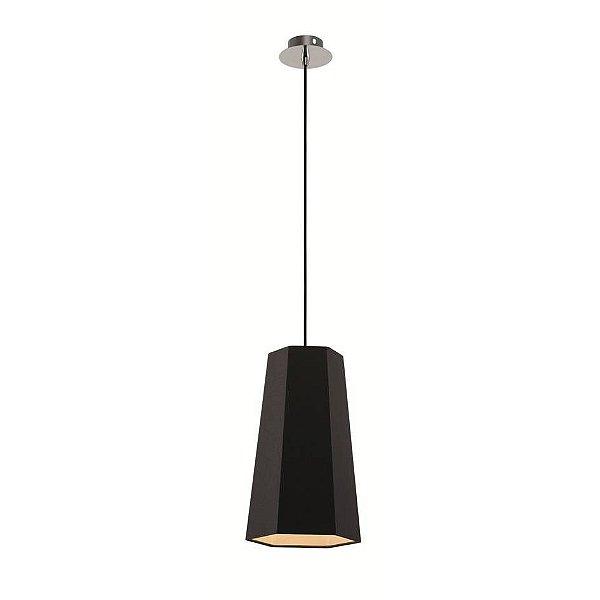 Pendente Sati Decorativo Moderno Vertical Preto Tecido Bivolt Ø18cm Bulbo Stella SD8581 Quartos e Salas
