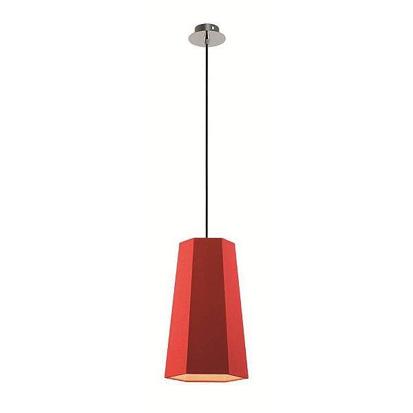 Pendente Sati Moderno Vertical Vermelho Tecido Bivolt Ø18cm Bulbo Stella SD8583 Cozinhas e Salas