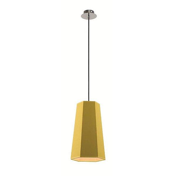 Pendente Sati Decorativo Moderno Vertical Amarelo Tecido Bivolt Ø18cm Bulbo Stella SD8584 Quartos e Salas