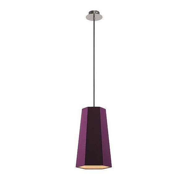 Pendente Sati Decorativo Moderno Vertical Roxo Tecido Bivolt Ø18cm Bulbo Stella SD8585 Cozinhas e Quartos