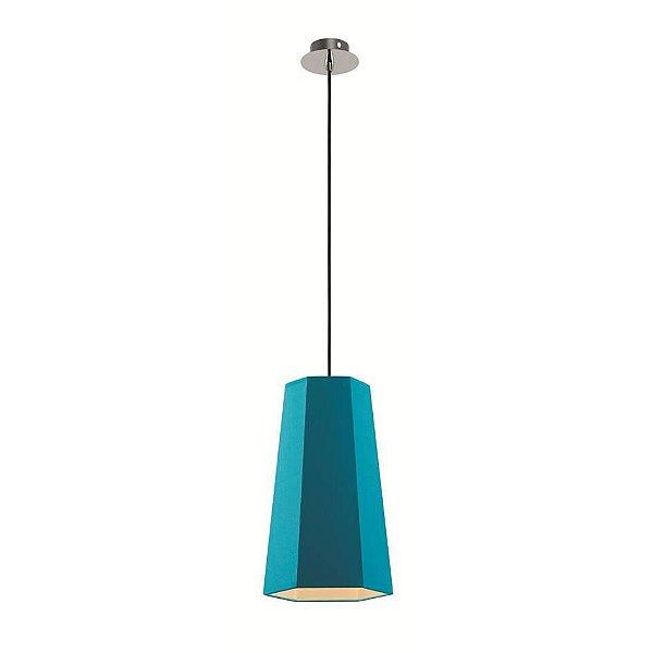 Pendente Sati Moderno Vertical Azul Tecido Bivolt Ø18cm Bulbo Stella SD8586 Quartos e Salas