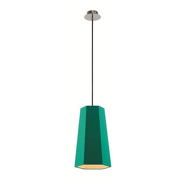 Pendente Sati Moderno Vertical Verde Tecido Bivolt Ø18cm Bulbo Stella SD8587 Balcões e Cozinhas