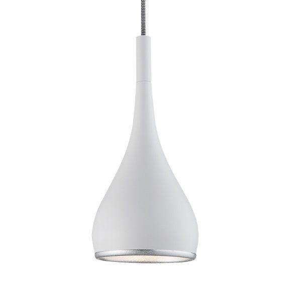 Pendente Vertical Metal Branco Brilhante Decorativo Bivolt Ø16cm Mini Bulbo Stella SD8503 Corredores e Salas