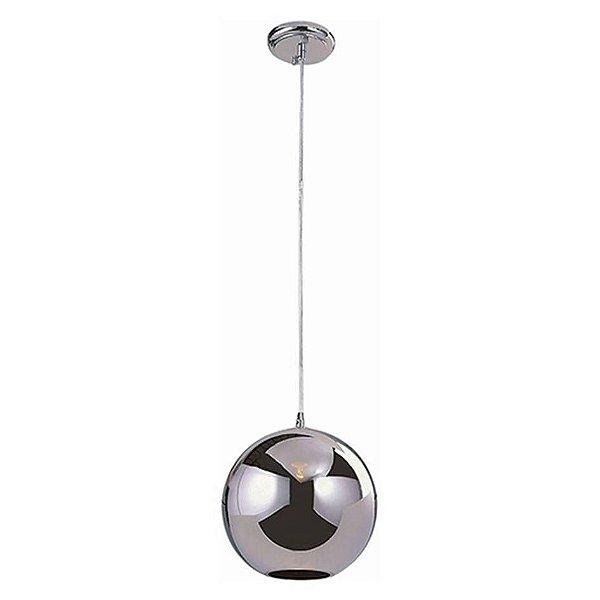 Pendente Vertical Vidro Cromado Translúcido Artesanal Bivolt Ø30cm Bulbo Stella SD8130 Cozinhas e Salas