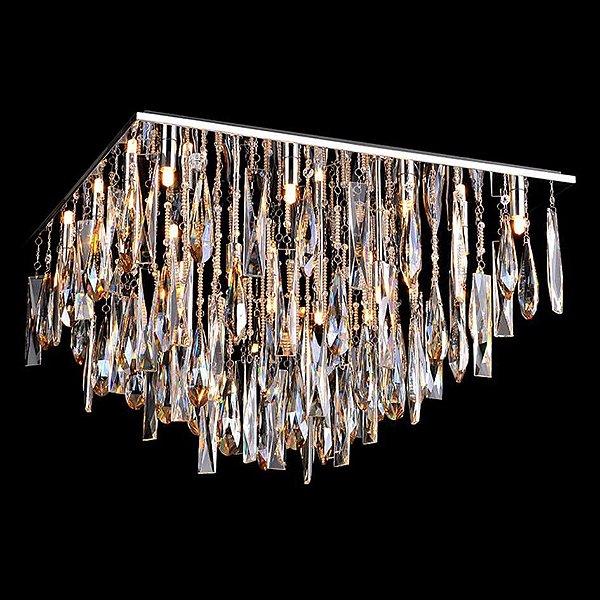 Plafon Sobrepor Quadrado Cristais Lapidados Translúcidos e Champagne Bivolt 65x65cm G9 Halopin Stella SD7025 Cozinhas e Salas