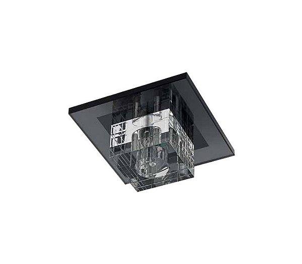Spot Quadrado Cristal Translúcido e Vidro Preto Bivolt 9x9cm G9 Halopin Stella SD7510 Closet e Quartos