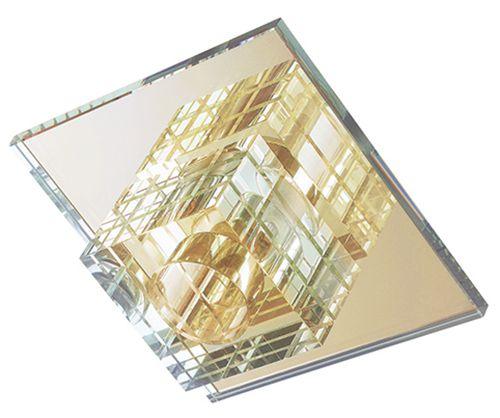Spot Dagda Cristal Translúcido Vidro e Acabamento Dourado Bivolt 9x6cm G9 Halopin Stella SD7530 Escritórios e Salas