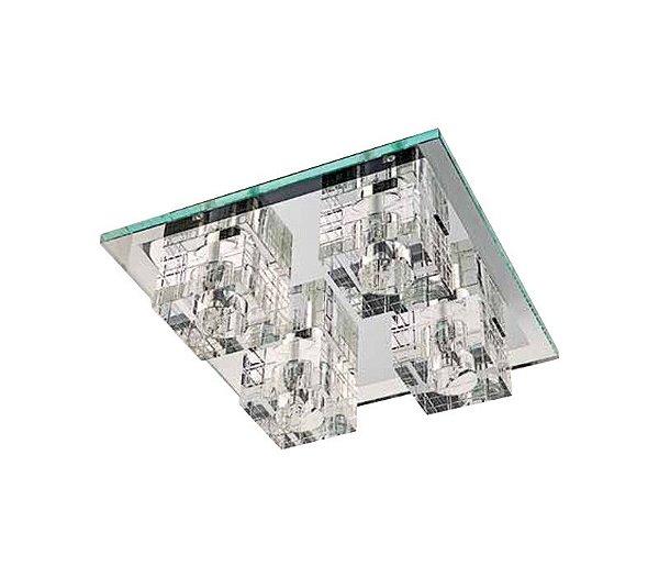 Painel Quadrado Spot de Cristal Translúcido e Vidro Transparente Bivolt 32x32cm G9 Halopin Stella SD7540 Quartos e Salas