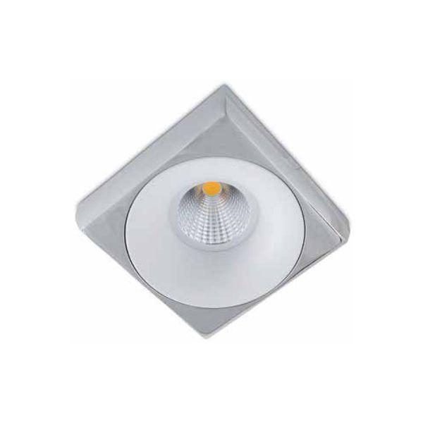 Spot Semi-embutido Locana Quadrado Metal Cromado com Branco Bivolt 10x10cm GU10 Dicróica Stella SD4700Q Escritórios e Salas