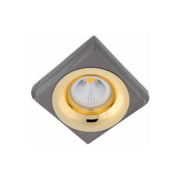 Spot Semi-embutido Locana Quadrado Metal com Dourado Bivolt 10x10cm GU10 Dicróica Stella SD4702Q Entradas e Salas