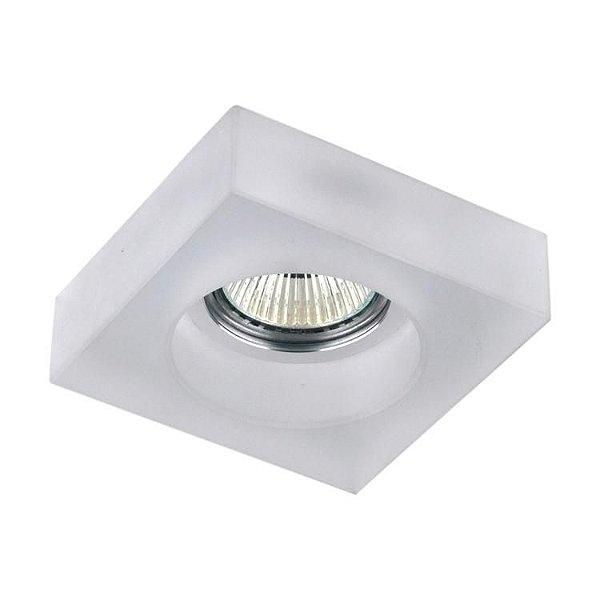 Spot Semi-embutido Cristal Branco Fosco Quadrado Bivolt Led 10x10cm GU10 Dicróica Stella SD4006Q Quartos e Salas