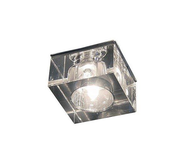 Spot Semi-embutido Quadrado Cristal Transparente Bivolt 5x5cm G4 Bi-pino Stella SD4010 Escritórios e Salas