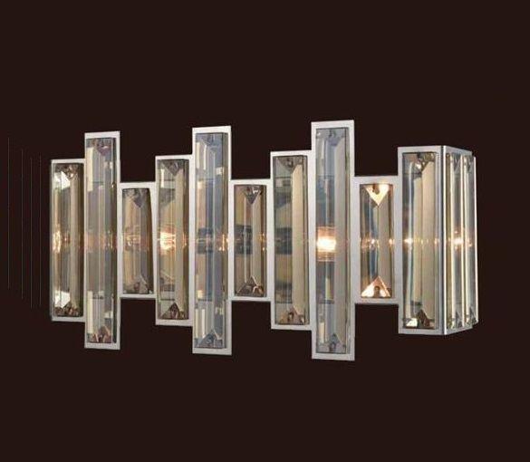 Arandela Milano Conhaque Metal Cromado Cristal 20x43cm Mantra 2 E14 30451 Quartos e Salas