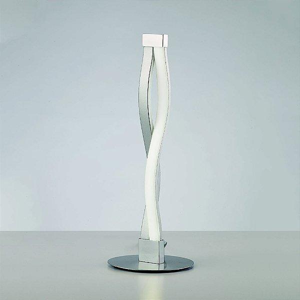 Abajur Luminária de Mesa Sahara Alumínio Metal Cromado 39,7x15cm Mantra LED 6W Bivolt 4862 Escritórios e Quartos