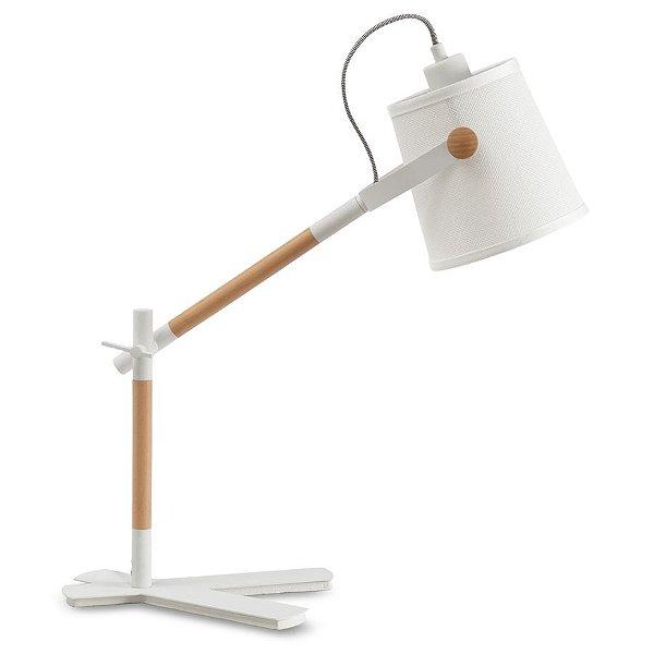 Abajur Luminaria Nordica Branco Madeira Natural 58x16cm Mantra 1 E27 23W Bivolt 4922 Mesas e Quartos
