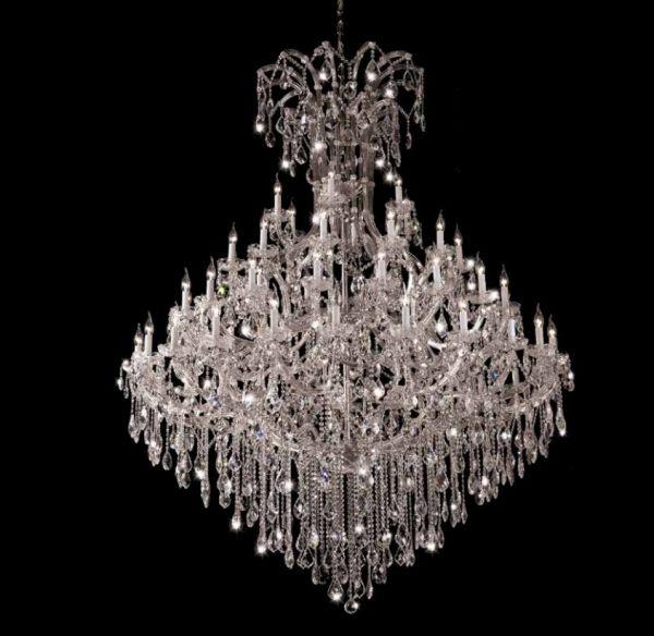 Lustre Candelabro Atennu Cristal Transparente 60 Braços 210x183cm Mantra 60 E14 40W Bivolt 2793 Entradas e Halls