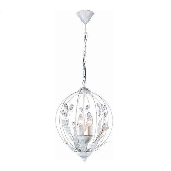 Lustre Candelabro Maria Tereza Felicie Metal Cristal 48x36cm Mantra 3 E14 40W Bivolt 30112 Entradas e Salas