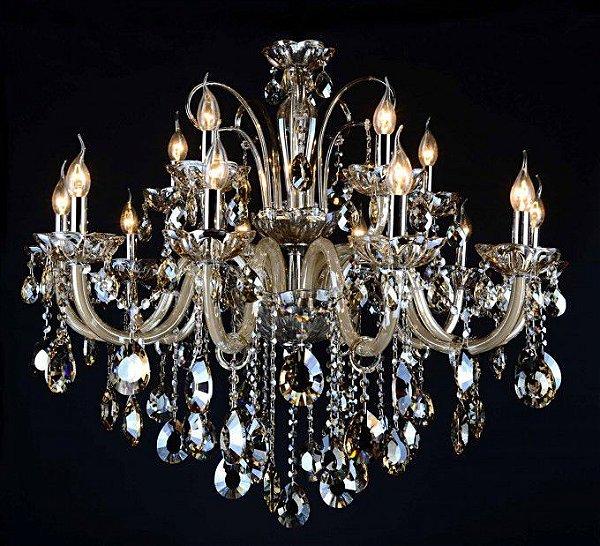 Lustre Candelabro Maria Tereza Apolo Cristal Conhaque Metal 82x96cm Mantra 15 E14 40W Bivolt 30170 Hall e Entradas