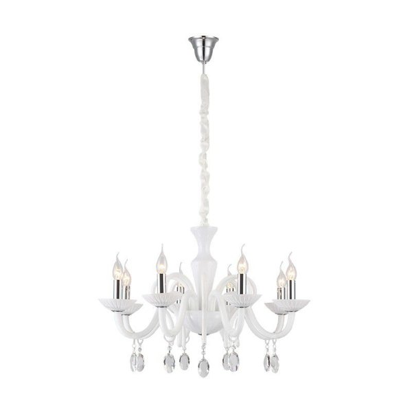 Lustre Candelabro Zarek Branco Cromado Cristal Transparente 49x72cm Mantra 8 E14 40W Bivolt 30217 Entradas e Salas
